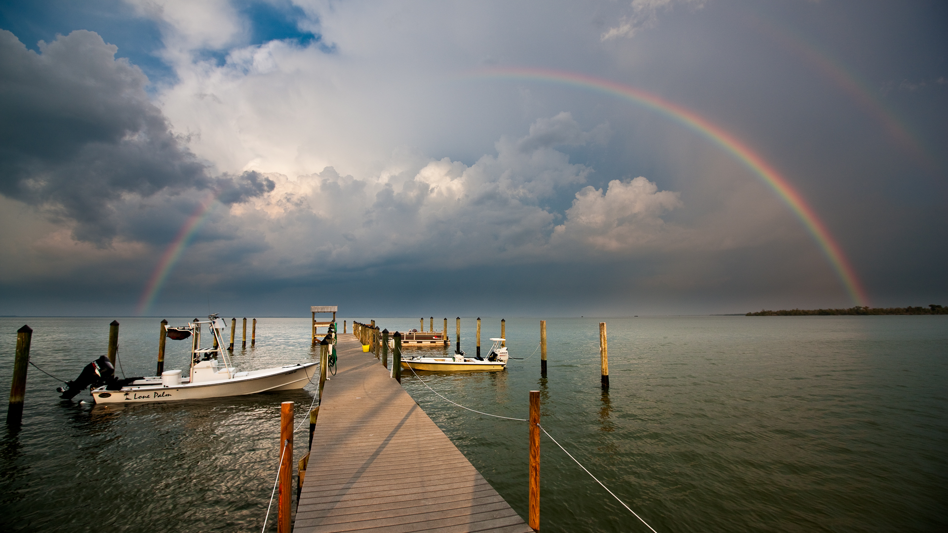 Captiva Cottages dock rainbow